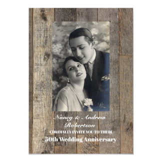 rustic western country 50th wedding anniversary card