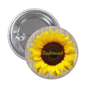 Rustic Western Country Burlap Sunflower bridesmaid 1 Inch Round Button