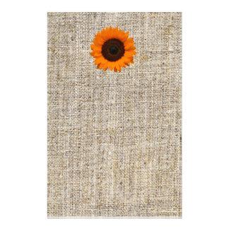 Rustic Western Country Burlap Sunflower Wedding Stationery Design