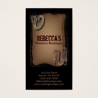 rustic western country cowboy wedding business card