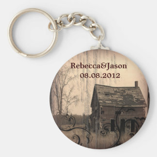 rustic western country farm barn wedding favor basic round button keychain