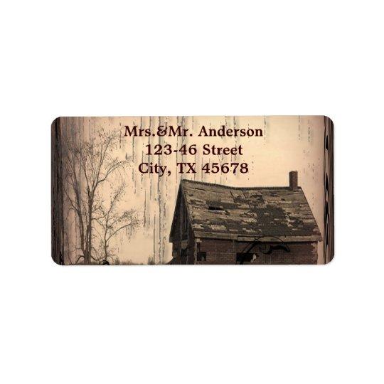 rustic western country farm barn wedding label
