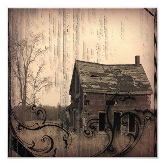 rustic western country farm barn wedding photo print