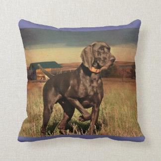 rustic western country farm labrador retriever throw pillow