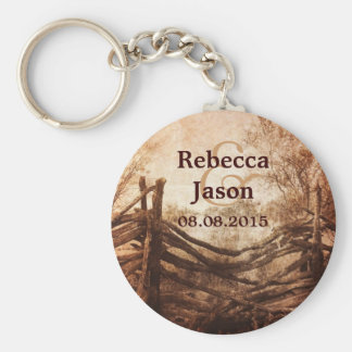 rustic western country farm wedding favor basic round button keychain