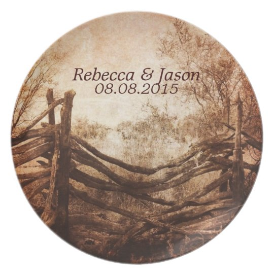 rustic western country farm wedding plate