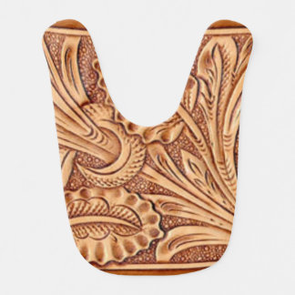 Rustic western country pattern tooled leather baby bibs