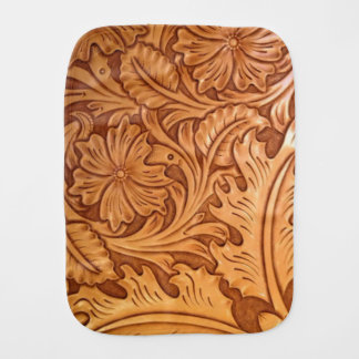 Rustic western country pattern tooled leather burp cloths