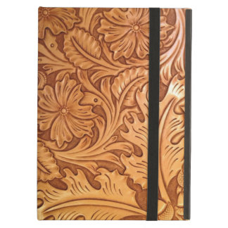 Rustic western country pattern tooled leather cover for iPad air