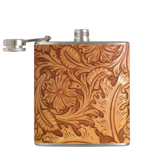 Rustic western country pattern tooled leather hip flask