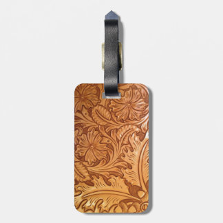 Rustic western country pattern tooled leather luggage tag