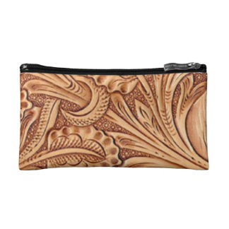 Rustic western country pattern tooled leather makeup bag