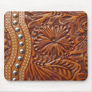 Rustic western country pattern tooled leather mouse pad
