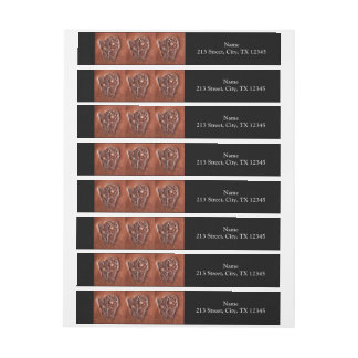 Rustic western country pattern tooled leather wraparound address label