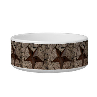 Rustic Western Country Primitive Texas Star Pet Water Bowl
