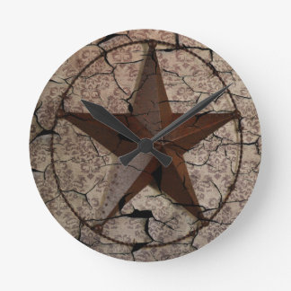Rustic Western Country Primitive Texas Star Round Clock