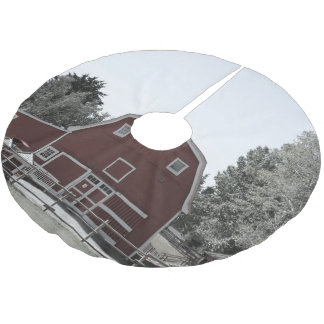 Rustic western country rural farmhouse red barn brushed polyester tree skirt