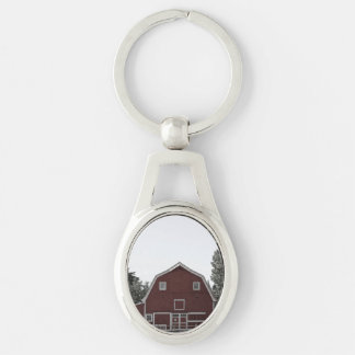 Rustic western country rural farmhouse red barn keychain