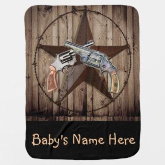 rustic western country texas star cowboy pistol baby blanket
