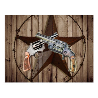 rustic western country texas star cowboy pistols postcard