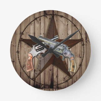 rustic western country texas star cowboy pistols round clock