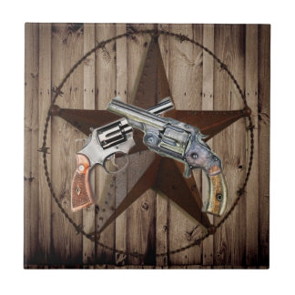 rustic western country texas star cowboy pistols tile