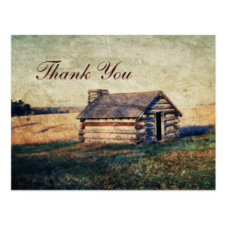 rustic western country wedding thank you postcard