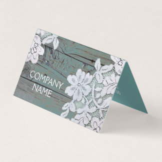 Rustic Western Country White Lace Teal Barn Wood Card
