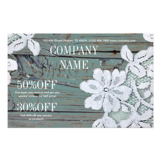 Rustic Western Country White Lace Teal Barn Wood Flyers