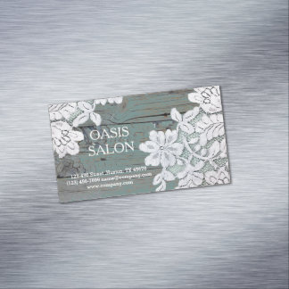 Rustic Western Country White Lace Teal Barn Wood Magnetic Business Card
