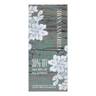 Rustic Western Country White Lace Teal Barn Wood Rack Card
