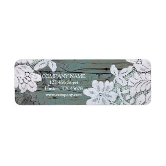 Rustic Western Country White Lace Teal Barn Wood Return Address Label