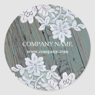 Rustic Western Country White Lace Teal Barn Wood Round Sticker
