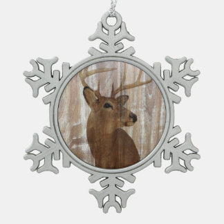 rustic western country wood grain vintage deer pewter snowflake ornament