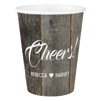rustic western country woodgrain barn wedding paper cup