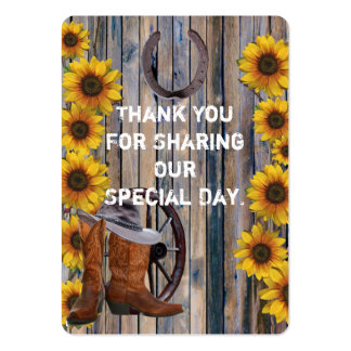 Rustic western cowboy favor thank you tag pack of chubby business cards