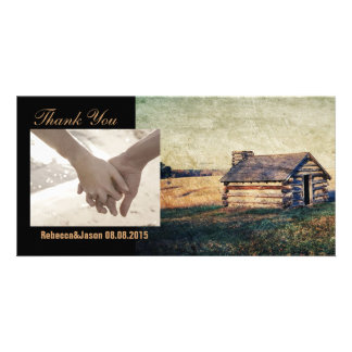 rustic western farm cottage country wedding personalized photo card
