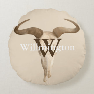 Rustic Western Prairie Cow Skull Family Name Round Pillow