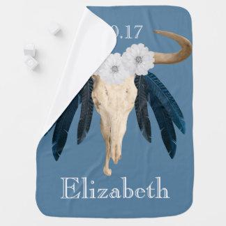 Rustic Western Prairie Floral Cow Skull Feathers Baby Blanket