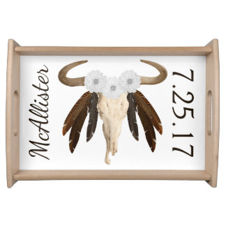 Rustic Western Prairie Floral Cow Skull & Feathers Serving Tray
