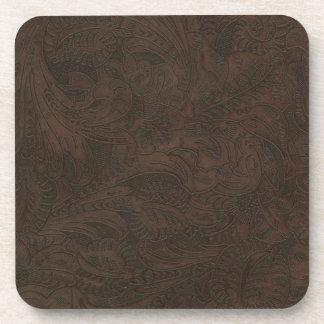 Rustic Western Ranch Tooled Leather-look III Coaster