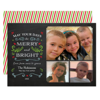 Rustic Whimsical Chalkboard Holiday 3-Photo Card