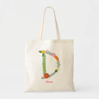 Rustic Whimsical Flower Monogram (D) Tote Bag