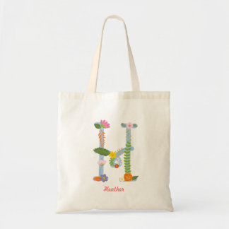 Rustic Whimsical Flower Monogram (H) Tote Bag