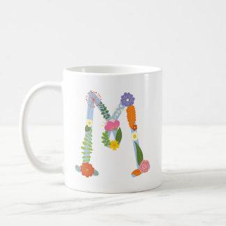 Rustic Whimsical Flower Monogram (M) Coffee Mug