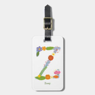 Rustic Whimsical Flower Monogram (Z) Luggage Tag