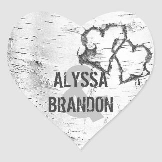 Rustic White Birch Bark Heart Wedding Stickers