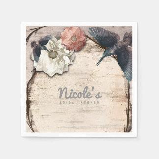 Rustic White Birch Floral & Hummingbird Elegant Disposable Napkin