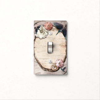 Rustic White Birch Floral & Hummingbird Elegant Light Switch Cover