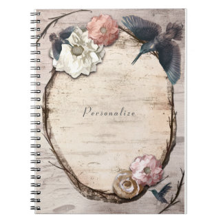 Rustic White Birch Floral & Hummingbird Elegant Notebook